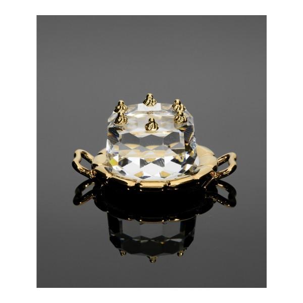 Swarovski Kristall-Figur Geburtstagstorte mit Tablett