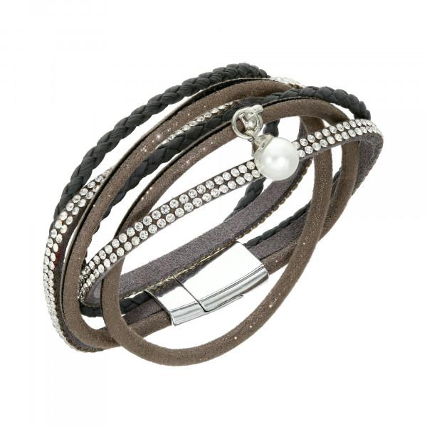 Armband Leder geflochten grau mit Kristallen