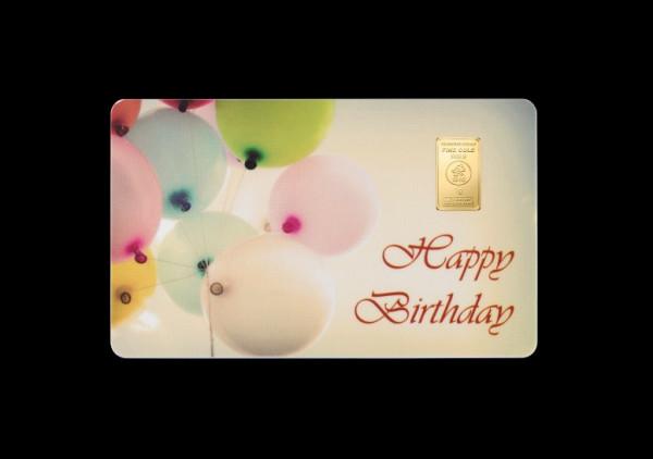 FineCard Happy Birthday 1 x 1 Gramm Goldbarren