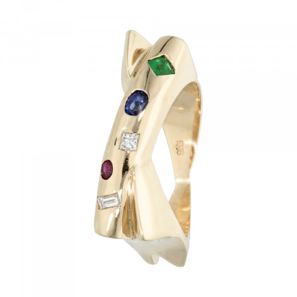Ring 585 Gelbgold mit Diamant, Saphir, Rubin, Smaragd