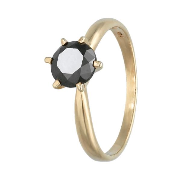 Ring 14 Karat Gelbgold mit schwarzen Kristall