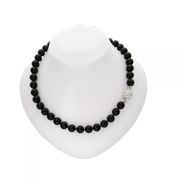 Perlenkette schwarz mit Magnetverschluss silber