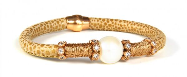 Armband Leder/Kupfer cognac mit Perle + Zirkonia