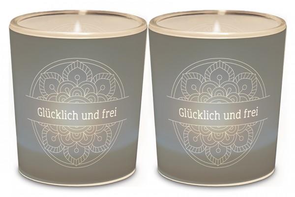 """Teelichthalter """"Glücklich und Frei"""""""
