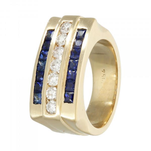 Ring 750 Gelbgold mit Saphir und Brillant