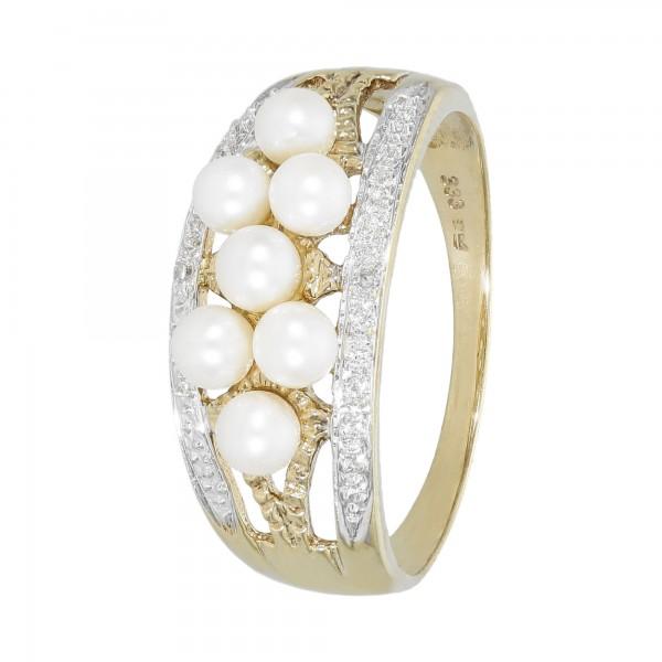 Ring bicoclor 333 mit 7 Perlen und Diamant