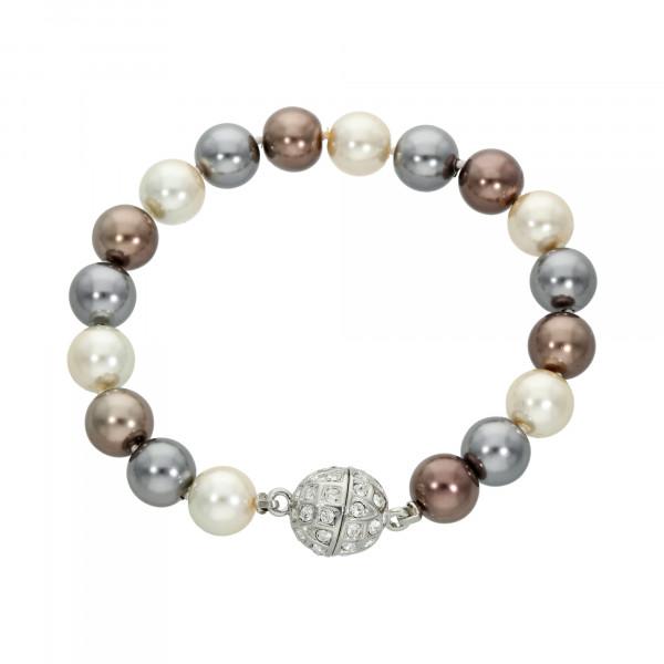 Perlenarmband grau/braun/cremeweiß mit Magnetverschluss silber