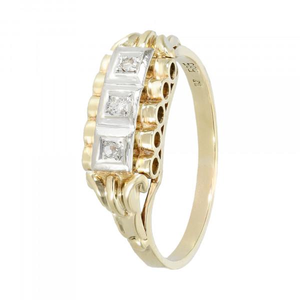 Ring 585 bicolor mit 1 Brillant + 2 Brillant-Rosen