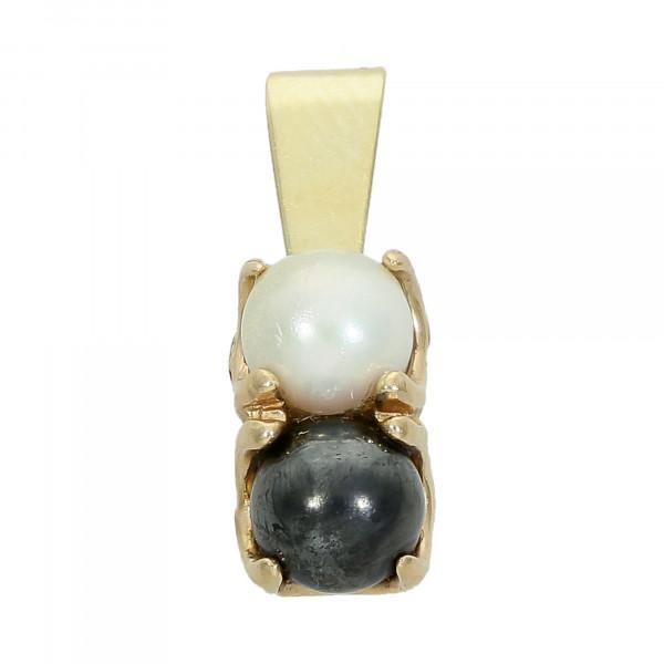 Anhänger 585 Gelbgold mit schwarz und weiß Perle