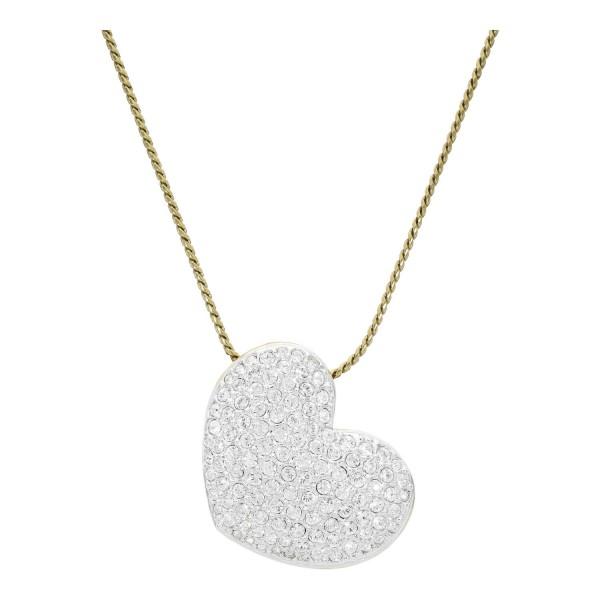 Kette mit Anhänger vergoldet Swarovski Herz mit Kristallen
