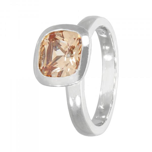 Ring 925 Silber mit Kristall braun