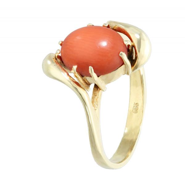 Ring 585 Gelbgold mit Koralle