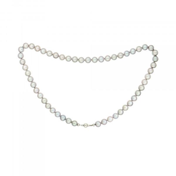 Perlenkette grau 53 Perlen mit Kugelschloss Weißgold 375 blank
