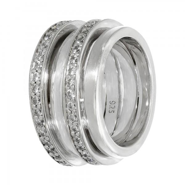 """Ring 925 Silber """"Jette"""" mit Zirkonia 4 reihig"""