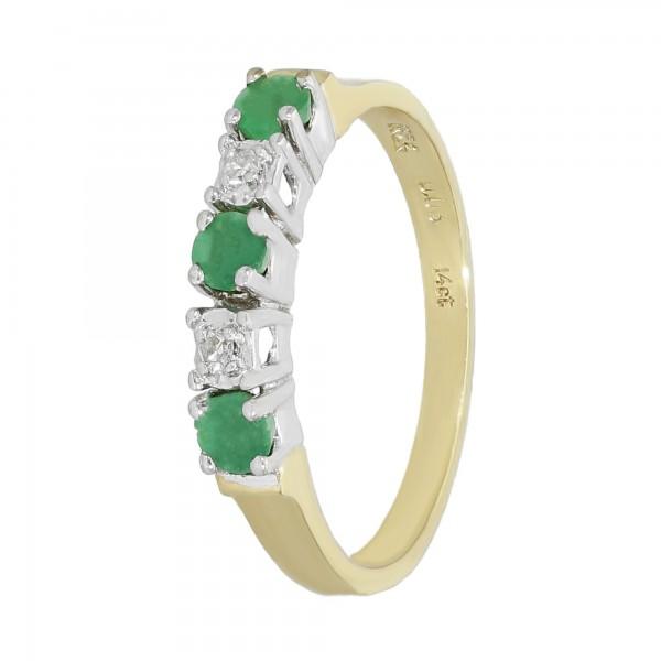 Ring 585 bicolor mit 3 Smaragden ca.0,30 ct.+ Diamanten