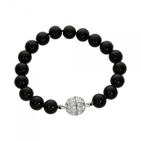 Perlenarmband schwarz mit Magnetverschluss silber