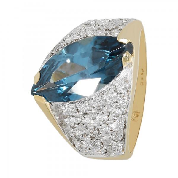 Ring 585 bicolor mit synth. Spinell blau und Zirkonia