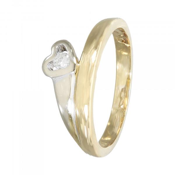 """Ring 750 bicolor mit Brillant ca.0,07ct """"Herz"""""""