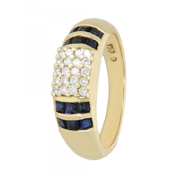 Ring 750 Gelbgold mit Brillanten und Saphiren