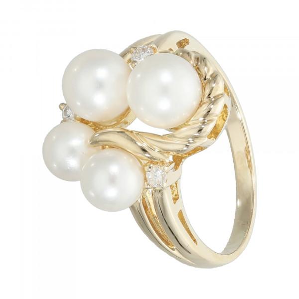Ring 585 Gelbgold mit Perle und Brillant
