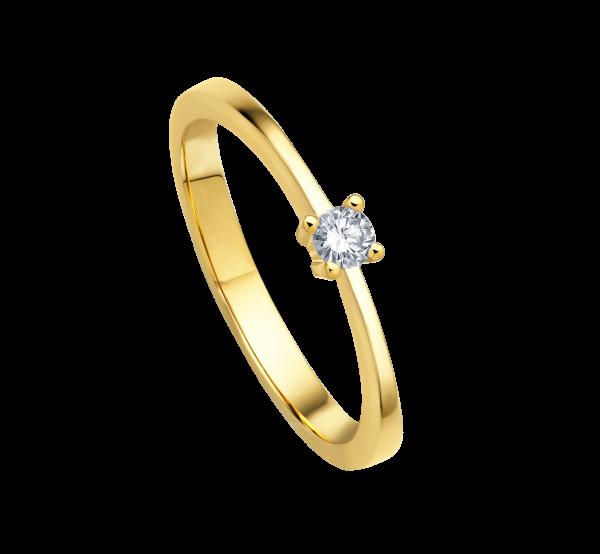 Ring 585 Gelbgold mit 1 Brillant 0,30ct W-SI