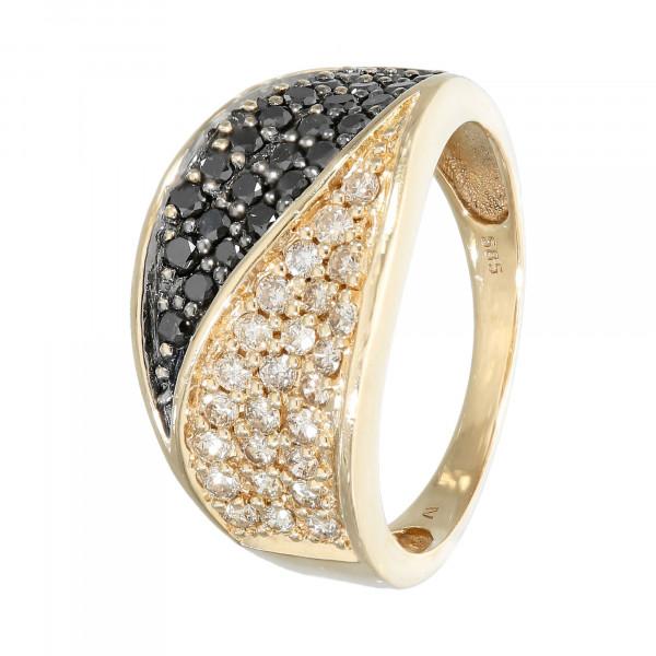 Ring 585 Gelbgold mit Brillanten braun und schwarz