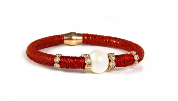 Armband Leder/Kupfer rot mit Perle + Zirkonia