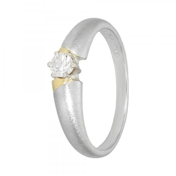 Ring Pt.950 bicolor mit Diamant ca.0,06ct. TW/SI