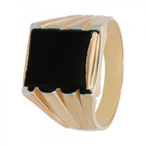 Ring 750 Gelbgold mit Onyx Vintage