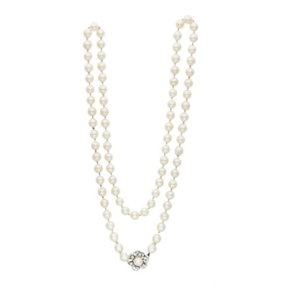 Perlenkette Schloss 585 Weißgold mit Brillanten ca. 0,18 ct.