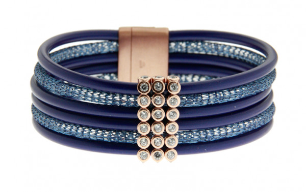 Armband Kupfer/Kautschuk dunkelblau 6 reihig mit Zirkonia