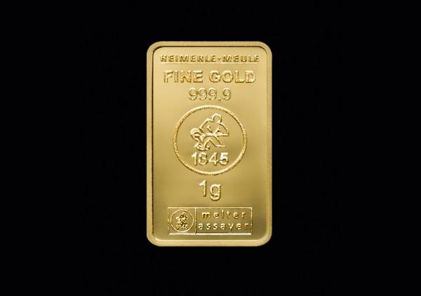Goldbarren 1,0 Gramm H+M geprägt