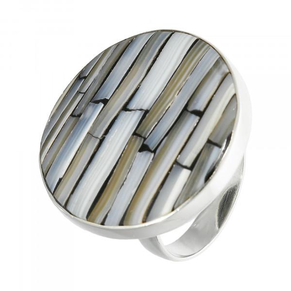 Ring 925 Silber mit grau gemusterten Stein