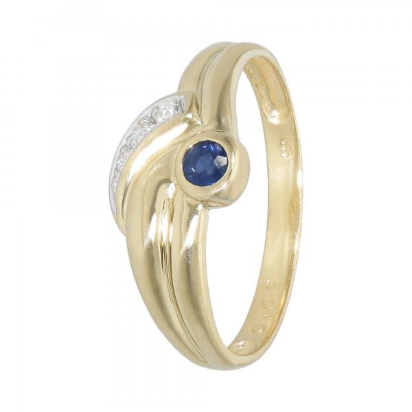 Ring bicolor 585 mit Saphir und Diamanten ca.0,03 ct