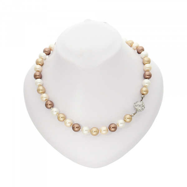 Perlenkette kupfer/creme/gold mit Magnetverschluss silber