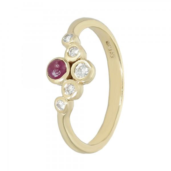 Ring 585 Gelbgold mit Rubin und Brillanten