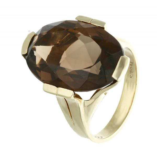 Ring 585 Gelbgold mit ovalem Rauchquarz