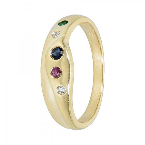 Ring Gelbgold 333 mit Rubin,Saphir,Smaragd,Brillanten