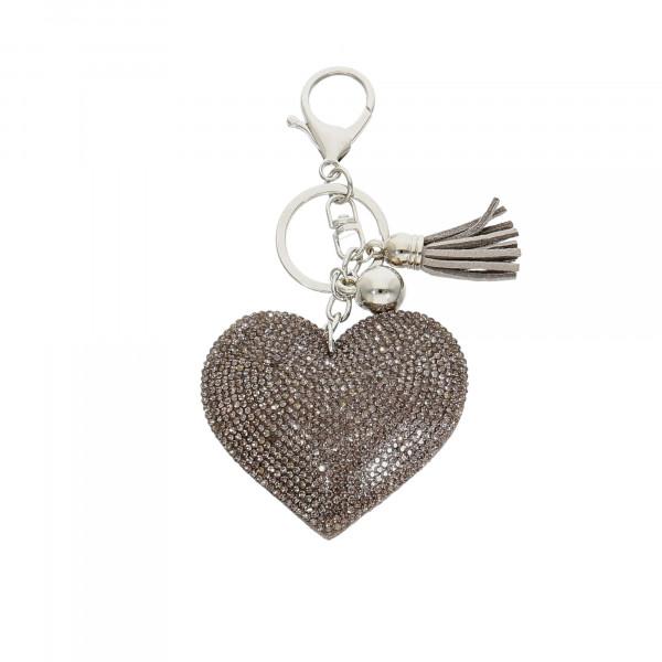 """Taschen-Anhänger Leder mit Kristallen grau """"Herz"""""""