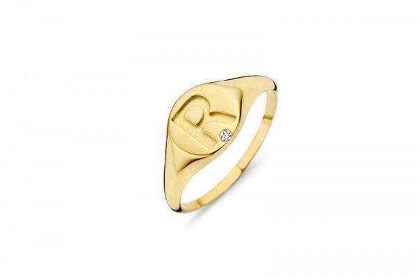 Ring Silber 925 vergoldet - R- mit Zirkonia Gr. 55