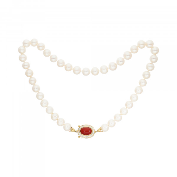 Perlenkette weiß 41 Perlen mit Schloss Gelbgold 750 mit Koralle und Brillanten