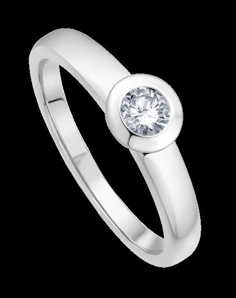 Ring 585 Weißgold mit 1 Brillant 0,20 ct W-SI