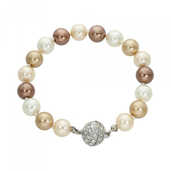 Perlenarmband braun/gold/weiß mit Magnetverschluss silber