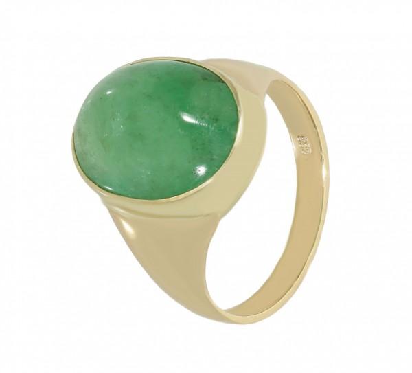 Ring 585 Gelbgold mit Smaragd Cabochon