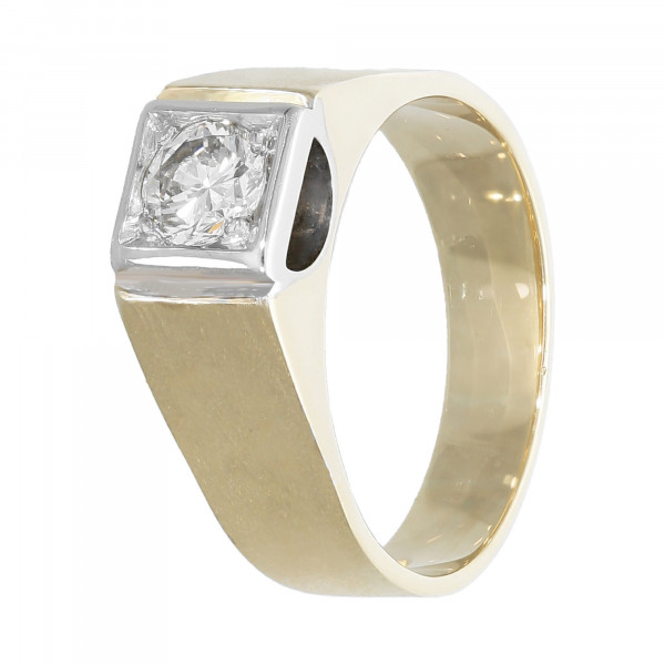 Ring 585 bicolor mit Brillant ca. 0,84 ct.