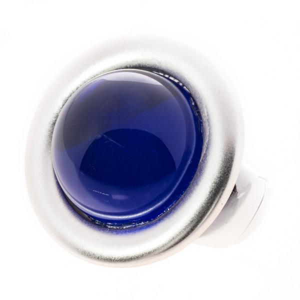 Elastik - Ring silberfarbig matt mit 1 Stein royalblau