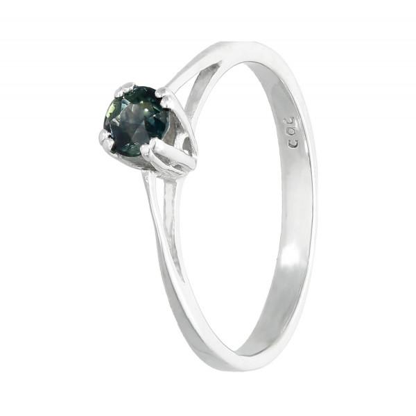 Ring 585 Weißgold mit Saphir