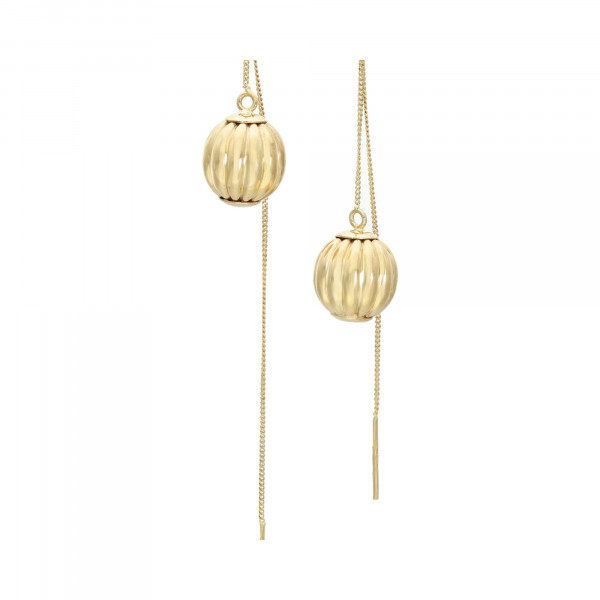 Ohrhänger 750 Gelbgold mit langer Verschlußkette