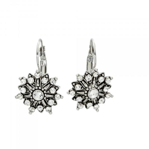 Ohrhänger mit Kristallen schwarz/weiiß rhodiniert