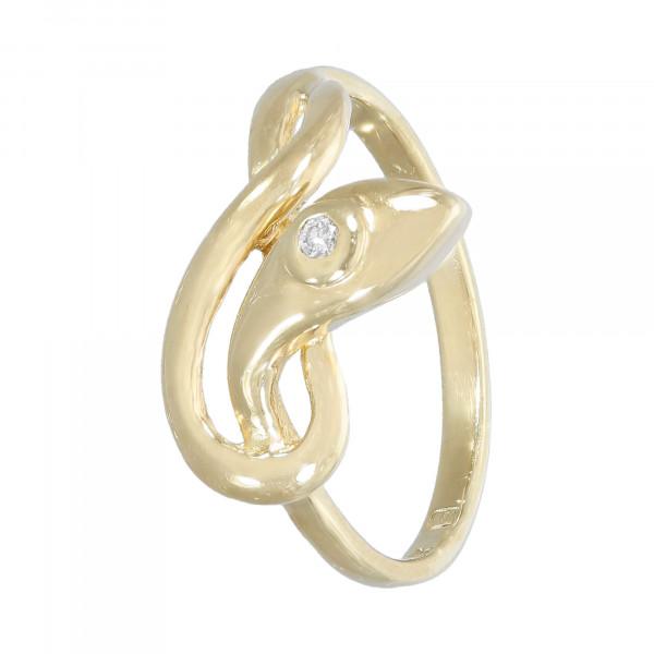 """Ring 585 Gelbgold mit Brillant ca.0,02 """"Schlange"""""""